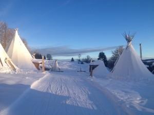 séminaire montagne, tipi sous la neige